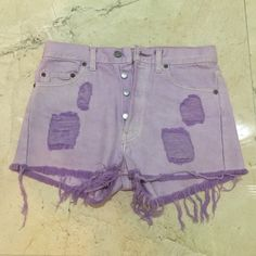 """Urban Outfitters Lavender High-Waisted Shorts These shorts are brand new & never worn. Purchased from Urban Outfitters for $68. Button up, classic & comfortable material. Bought them without trying and they were too small. Levi Strauss W""""29. They fit like a size 4! Urban Outfitters Shorts Jean Shorts"""