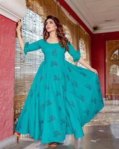 Sea Green HandblockDress embellished with beautifulHandblock all over the dress.  DressFabric :Cotton                                  Color: Sea Green Wash Care :Gentle Handwash   SIZE DESCRIPTION