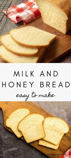 Sandwich Bread Recipes, Easy Bread Recipes, Honey Recipes, Homemade Sandwich Bread, Best White Bread Recipe, Soft Milk Bread Recipe, Beginner Baking Recipes, Beginners Bread Recipe, Honey Bread
