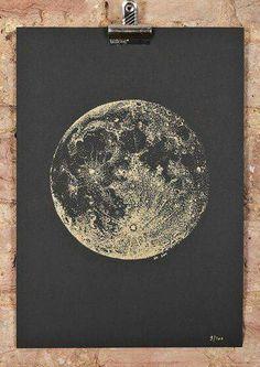 Full Moon screeprint gold ink on black paper by SabrinaKaici - dot art Pop Art Bilder, Drawn Art, Gold Ink, Pointillism, Black Paper, Stars And Moon, Oeuvre D'art, Full Moon, Constellations