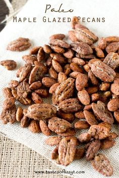 Paleo Maple Glazed Pecans >> by Tastes of Lizzy T's. Who doesn't love the aroma of cinnamon and maple? Even if you're trying to eat healthier, you can still enjoy the taste of candied nuts with these lightened up Paleo Maple Glazed Pecans.