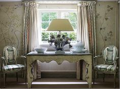 Nicky Haslam ~ dining room of his country home - walls painted to look like John Fowler's former wallpaper in the room
