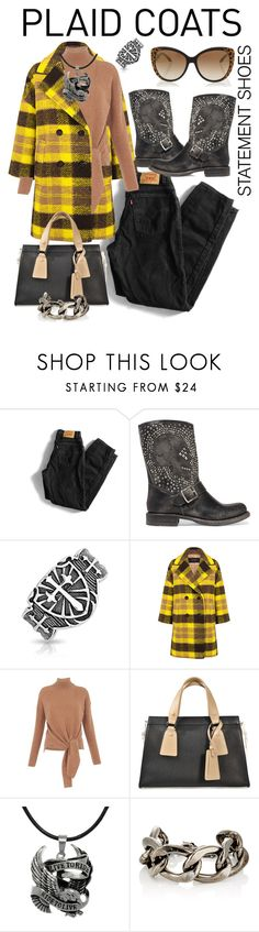 """rider in the storm"" by daincyng ❤ liked on Polyvore featuring Levi's, Frye, Bling Jewelry, Pink Tartan, Whistles, Giorgio Armani, Carolina Glamour Collection, Fallon, Roberto Cavalli and statementshoes"