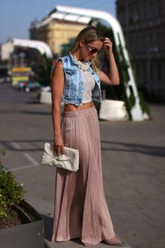 Fresco look con falda larga