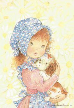 Postal - Niña con perrito en brazos - ilustrada por  CONSTANZA