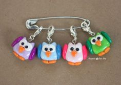 Repeat Crafter Me: DIY Owl Stitch Markers with Polymer Clay