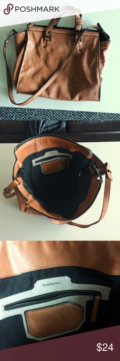 """ZARA • brown leather messenger bag good size faux leather messenger bag/tote.  12"""" height, 14"""" length, 8"""" wide.  thick, durable fabric.   bought off poshmark in new condition and haven't used it since.   make me an offer! Zara Bags Totes"""
