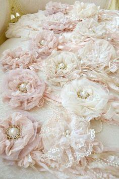 Beautiful Shabby Chic fabric flowers