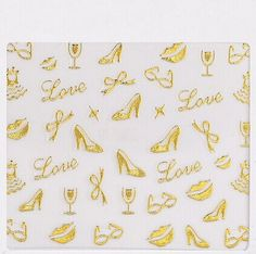 One Piece of Gold Shoe Bowknot Shape 3D Nail Sticker Category: Beauty > Nails & Tools > Stickers & Decals  #3dnailartatikers #3dstikers #nailstikers #artstikers #bridgat.com