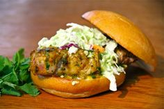 Happy Monday everyone and welcome to Curry Week. We start with a simple pork loin burger. Hey - pork can be a burger too ya know. Hot Dog Recipes, Burger Recipes, Grilling Recipes, Boneless Pork Loin Chops, Grilled Pork Loin, Salmon Burgers, Stuffed Peppers, Guy, Bbq Food