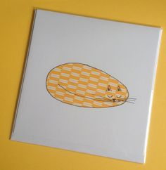 Cute collage and hand illustrated card. Cat Nap.  Blank. Any Occasion.. $3.50, via Etsy.