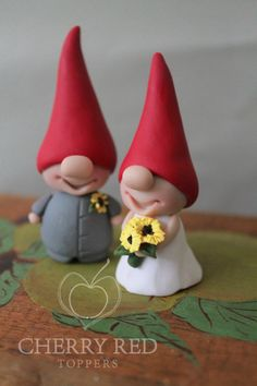 Gnome Cake Toppers - Custom Colors - Red and Yellow Wedding Cake Topper
