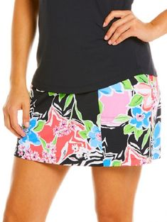 Ibkul Ladies Amelia Print Pull On Golf Skorts - Black Multi