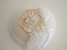 Ivory and white cocktail hat. rose beads. by BettinaMillinery, $150.00