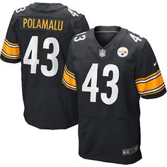 ee938be5f Nike Elite Troy Polamalu Black Men's Jersey - Pittsburgh Steelers #43 NFL  Home