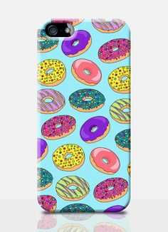 Colourful DONUTS print mobile phone case. Available on iPhone 4, iPhone 5…