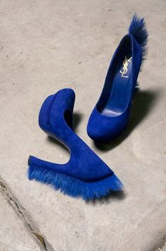 "Bright royal blue suede ""mohawk"" shoes"
