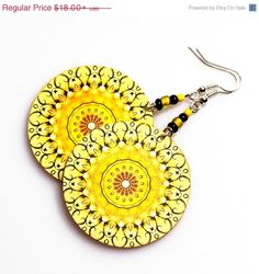 on SALE Sunny rosette Earrings Mandala Round Summer Fashion, Yellow circles, gift for her under 25  (A13)
