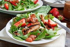 Strawberry and Balsamic Grilled Chicken Salad Recipe : A fresh spring strawberry salad with balsamic glazed grilled chicken, bacon, goat cheese and pecans dressed in a roasted strawberry balsamic vinaigrette. Salad Bar, Soup And Salad, Balsamic Grilled Chicken, Balsamic Onions, Balsamic Glaze, Chicken Salad Recipes, Salad Chicken, Recipe Chicken, Yogurt Chicken