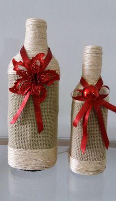 Conjunto de garrafa decoradas com tema natalino, tudo feito artesanalmente. Ideal para decoração de ambientes, eventos, festas, decoração de centro de mesa. Consulte-nos; (FEITO SOBRE ENCOMENDA)