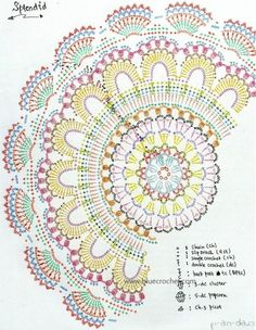 ideas crochet patterns diagram crafts for 2019 Filet Crochet, Crochet Amigurumi, Crochet Diagram, Crochet Chart, Diy Crochet, Plaid Crochet, Motif Mandala Crochet, Crochet Circles, Crochet Stitches Patterns