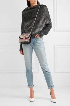 Valentino - Lock Medium Embellished Leather Shoulder Bag - Black - one size