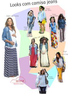 Arrase nas produções com a camisa jeans! Moda gestante, fashion maternity, camisa jeans, grávida, pregnant!
