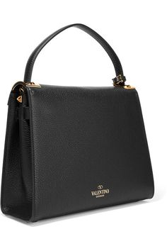 Valentino - My Rockstud Large Textured-leather Tote - Black - one size