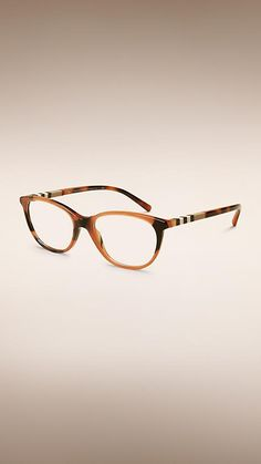 7c474e58b5 Amber Check Detail Cat-Eye Optical Frames - Image 1 Occhiali, Burberry,  Ambra