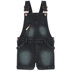 Cotton denim Short cut Wide shoulder straps Front bib Straight leg fit Stitched turn-ups Front pockets Patch pockets Clip straps on the chest Adjustable straps Zipper on the pocket Buttons on the sides Stone-washed effect Lurex thread Logo patch at the back - 62,00 €