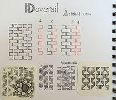 New tangle pattern, Dovetail. Julie Beland. 7/16. Zentangle.