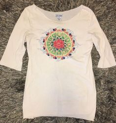 Lucky Brand Women's 3/4 Sleeve Boatneck Top Raw Edges Yoga Lotus Med #LuckyBrand #GraphicTee