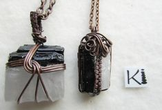 Black Tourmaline Selenite Copper Viking Knit  Weave Wire Wrapped Balance Rope Necklace, Wire Earrings, Wire Jewelry, Handmade Jewelry, Pendant Necklace, Necklaces, Wire Wrapped Rings, Wire Wrapped Pendant, Viking Knit