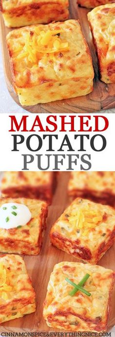 Mashed Potato Puffs Leftover Mashed Potato Puffs - mashed potatoes never tasted so good! With bacon, cheese, sour cream and chives.Leftover Mashed Potato Puffs - mashed potatoes never tasted so good! With bacon, cheese, sour cream and chives. Mashed Potato Casserole, Mashed Potato Recipes, Potato Dishes, Food Dishes, Mashed Potato Bombs, Potato Muffins Recipe, Golden Potato Recipes, Side Dish Recipes, New Recipes