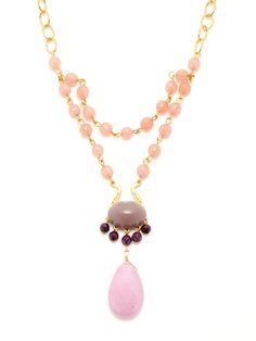 David Aubrey Pink Teardrop Necklace  pink jade and purple coral