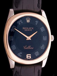 Rolex Cellini Danaos Two Tone Solid Rose and White Gold Dress Watch with Black Dial Fancy Watches, Best Watches For Men, Dream Watches, Luxury Watches, Cool Watches, Men's Watches, Vintage Rolex, Vintage Watches, Gentleman Watch