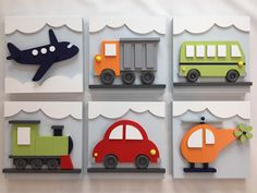 Set of 6 Transportation Wood Kids Wall Decor, Transportation for Nursery and Kids Rooms, Car Train Helicopter Firetruck Bus Plane Children's Pop Up Books, Light Bulb Art, Kids Wall Decor, Shop Interior Design, Wood Toys, Art Activities, Wood Art, Wood Crafts, Colorful Backgrounds