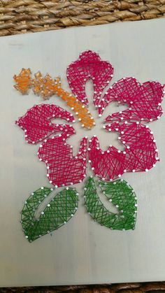 Embroidery On Paper Hawaiian Hibiscus Flower String Art Home Decor by MushBugCrafts String Art Templates, String Art Patterns, Art Floral, Hanging Wall Art, Diy Wall Art, String Art Diy, Handmade Crafts, Diy Crafts, Hawaiian Crafts