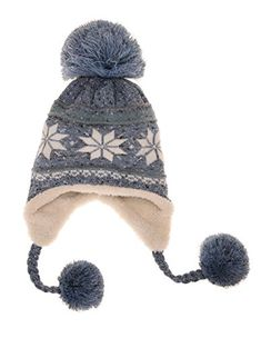 090b4b00bff18 Dosoni Women Girl Winter Hats Knit Soft Warm Earflap Hood Cozy Large  Snowflake Beani Sky Blue -- Click on the image for additional details.