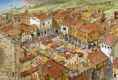 mercado medieval. la edad media