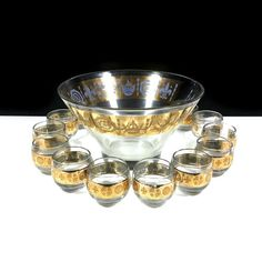 Vintage Glass Punch Bowl Set with Gold Fleur De Lis and 12 Roly Poly Cups by Vito Bari