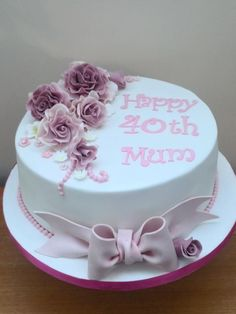Rose cake for a mum by Mother and Me Creative Cakes You are in the right place about healthy birthday cake Here we offer you the most beautiful pictures about the birthday cake cartoon you are looking 60th Birthday Cake For Mom, Birthday Cakes For Women, Cool Birthday Cakes, Fondant Birthday Cakes, Birthday Cake Roses, Elegant Birthday Cakes, Funfetti Kuchen, Mom Cake, Gateaux Cake