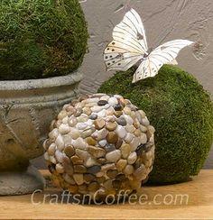 Pebble Mosaic Garden Balls on www.CraftsnCoffee.com.