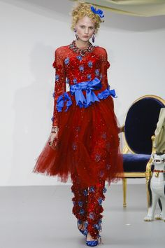 London Fashion Week Day Five    Love this! Who is it? Red and blue never looked this good.