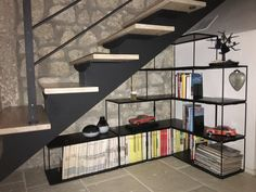 Modulr structure with two format. Iron, glass and marble for your home and office. Bookcase, Marble, Stairs, Iron, Shelves, Glass, Home Decor, Stairway, Shelving