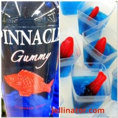 Gummy jello shots recipe with Gummy vodka and Swedish fish. Jello Shot Recipes, Vodka Recipes, Alcohol Recipes, Party Recipes, Alcoholic Punch, Non Alcoholic Drinks, Cocktails, Summer Jello Shots, Summer Drinks