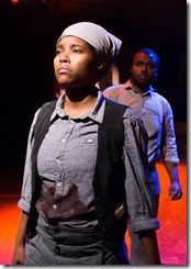 "Toya Turner as Harriet Tubman and Anthony Conway in Jackalope Theatre's world premiere of ""The Raid"" by Idris Goodwin, directed by Kaiser Ahmed. (photo credit: Joel Maisonet)"