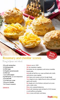 WARM AND RUSTIC: Add chopped rosemary to your mix. Top with an indulgent sprinkle of cheddar while they're still hot. Baking Recipes, Snack Recipes, Dessert Recipes, Desserts, Sour Cream Scones, Savory Scones, Aquafaba, Tasty, Yummy Food