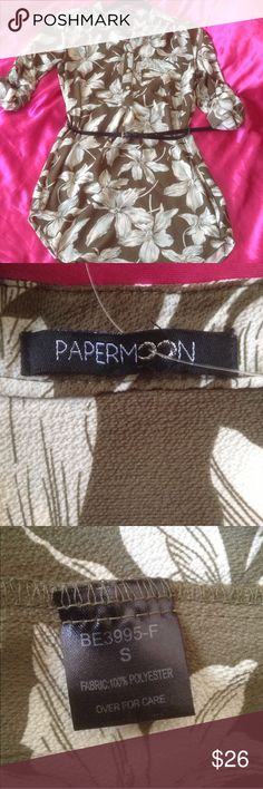 NWOT Pretty Papermoon Belted Long Blouse/dress Never worn. Coarse silky feel. Olive green and cream. Looks great with leggings and boots. Long enough to be summer dress on me (I'm 5'4). From Anthropologie. Size S. Papermoon Tops Blouses