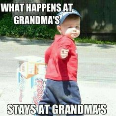 what happens at grandmas quotes quote family quote family quotes funny quotes grandparents humor grandma grandmom grandchildren Family Humor, Family Quotes, Funny Babies, Funny Kids, House Funny, Funny Quotes, Funny Memes, Funny Grandma Quotes, Grandma Memes